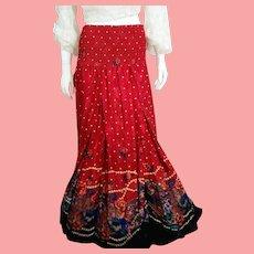 NOS New $495 DIANE FREIS 1980s boho gypsy SILK Baroque maxi Skirt