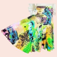 NOS New $350 DIANE FREIS 1990s boho gypsy NEON midi Skirt