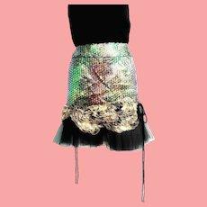 "1 OF A KIND Vintage 1990s Diane Freis ""Runway"" Sequin/Tulle Mini Skirt"