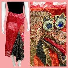 "RUNWAY Vintage: 1990s DIANE FREIS India Beaded ""Dragon"" Skirt"
