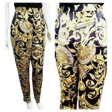 NOS New $550 DIANE FREIS 1980s Baroque Versace-print Silk Trouser Pants