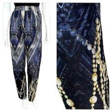 NOS New $875 DIANE FREIS 1980s Baroque Faux Denim Silk Trouser Pants