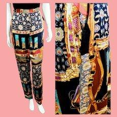 NOS New $895 DIANE FREIS 1980s Baroque Silk Trouser Pants