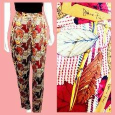 NOS New $550 DIANE FREIS 1980s Baroque Signed LOGO Silk Trouser Pants