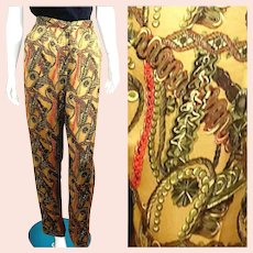 NOS New $895 DIANE FREIS 1980s Baroque Versace-print Silk Trouser Pants