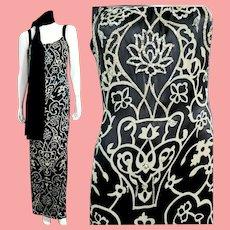 DEADSTOCK NOS $390 DIANE FREIS Vintage 1990s Art Deco-print Beaded Column Dress