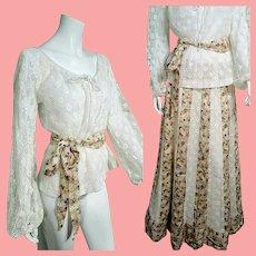 Vintage 1970s CHESSA DAVIS boho hippie Maxi Skirt/Peasant Blouse