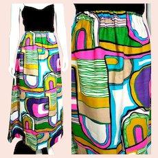 BEST EVER:  Vintage 1960s Op Art hippie mod boho Maxi Skirt