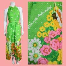 Vintage 1970s MALIA of HONOLULU Hawaiian Halter/Shelf Bra Maxi Dress
