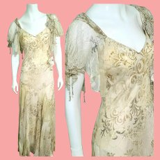 "DEADSTOCK $700 DIANE FREIS Vintage ""Edwardian Revival"" Silk Baroque Dress"
