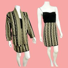 Vintage FRENCH RAGS by Brenda French hand-loomed Knit Jacket Skirt Suit