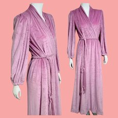 Vintage LUCIE ANN Beverly Hills 1980s does 1940s Velour Bath Robe