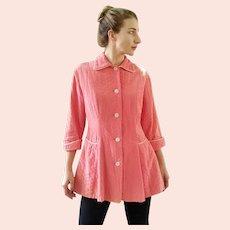 Vintage 1940s Quilted Nylon/Rhinestone PEGGY PRIM Bed Jacket Robe