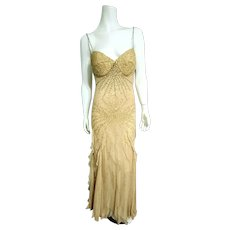 DEADSTOCK  $685 DIANE FREIS Couture:  Vintage Silk boho glam Gold Sequin Gown/Dress