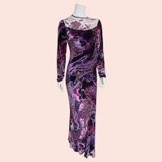 """DEADSTOCK  $975 DIANE FREIS vintage """"Purple Velvet Dream"""" beaded maxi Dress"""