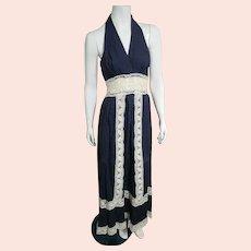 Vintage 1970s MEXICO Mexican boho Pintuck cotton/lace Wedding halter Dress