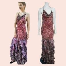 "DEADSTOCK  $990 DIANE FREIS Vintage Silk ""Mermaid"" Halter Backless Beaded Dress"