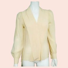 EFFORTLESSLY CHIC Vintage 1980s Silk Ivory Blouse Top