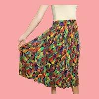 DEADSTOCK  $450 DIANE FREIS vintage Silk Graphic midi Skirt