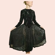 Vintage 1980s WESTERN Velvet/Lace CIRCLE SKIRT Dress w/Jacket