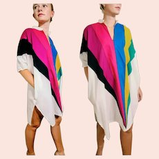 Vintage 1970s WEARABLE ART Caftan kaftan Tunic Dress - Avant Garde