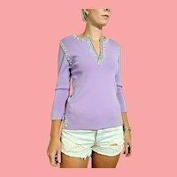 ICONIC 1990s Vintage DESIGNER Lavender Beaded/Sequin/Rhinestone Sweater Top
