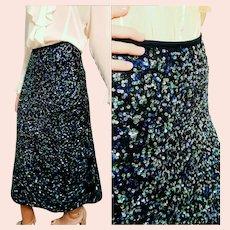 DEADSTOCK  $525 DIANE FREIS vintage Silk Hand-Beaded Sequin Skirt