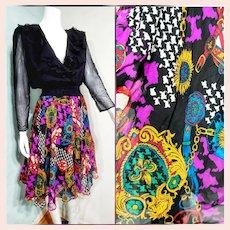 BELONGING 2 the DESIGNER Herself! Vintage 1980s Diane Freis boho gypsy Silk Dress
