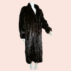 BELONGING 2 Designer Diane Freis: Vintage 1980s BLACKGLAMA Full Length Dark Ranch Mink Coat
