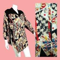 """BELONGING 2 Designer Diane Freis: Vintage 1980s RARE """"Playing Cards"""" motif Silk Tunic Top/Blouse"""
