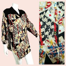 "BELONGING 2 Designer Diane Freis: Vintage 1980s RARE ""Playing Cards"" motif Silk Tunic Top/Blouse"