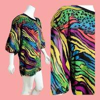 BELONGING 2 the DESIGNER Herself! Vintage 1980s Diane Freis boho Georgette Tunic/Mini Dress