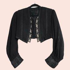 Antique VICTORIAN Vintage 1800s Black Mourning Jacket