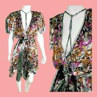 DEADSTOCK  $595 DIANE FREIS Vintage boho metallic Velvet Burnout Dress