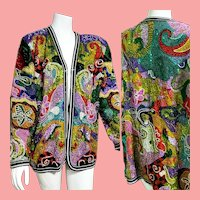 "DEADSTOCK  $2500 DIANE FREIS Couture:  Vintage 1980s Silk Hand-Beaded ""Psychedelic"" Jacket"