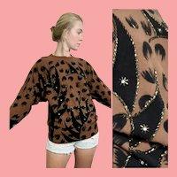 Vintage 1980s Avant Garde BEADED Dolman Slv Sweater/Top
