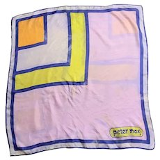 GUC:  Vintage PETER MAX 1960s Mod Pop Art Silk Square Scarf