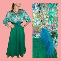 "DEADSTOCK  $595 DIANE FREIS Vintage boho ""Gypsy"" metallic Lurex Dress"