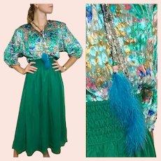 """DEADSTOCK  $595 DIANE FREIS Vintage boho """"Gypsy"""" metallic Lurex Dress"""