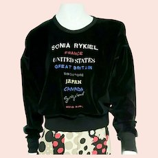 Vintage 1990s SONIA RYKIEL Logo Graphic Couture Sweatshirt/Top