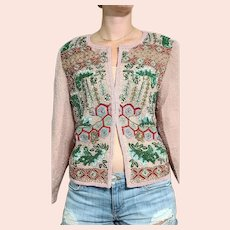 NWT Vintage DIANE FREIS $1500 India Silk Beaded Jacket