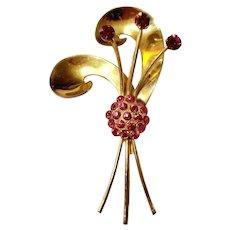 "Vintage 1940s CORO ""WWII Sweetheart Jewelry"" Rhinestone Brooch Pin"