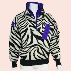 Vintage 1980s PELEGRINE Zebra Stripe Ski Sweater/Jacket