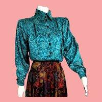 """Vintage 1980s Emanuel UNGARO PARALLELE Paris Silk """"Victorian"""" Blouse Top"""