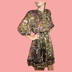 "DEADSTOCK  $595 DIANE FREIS Vintage boho ""Gypsy"" gold metallic Velvet Dress"