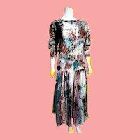 Vintage 1990s V. C. TORIAS Wearable Art hand painted Shirt Dress