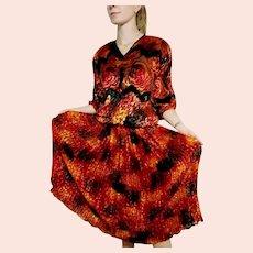 """DEADSTOCK  $595 DIANE FREIS Vintage 1980s boho """"Gypsy""""  Velvet Dress"""
