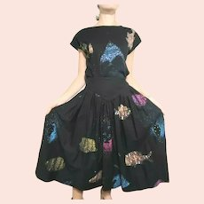 "Vintage 1980s ""GALAXY FISH"" Top/Skirt 2pc Dress"