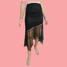 DEADSTOCK  $450 DIANE FREIS vintage 1990s Black Asymmetrical Mesh Skirt