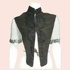 Antique VICTORIAN Vintage 1800s Black Mourning BEADED Cape/Collar
